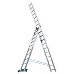 Лестница, 3 х 12 ступеней, алюминиевая, трехсекционная Pоссия